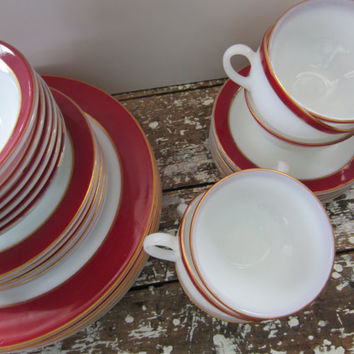 Maroon Pyrex Plates Gold Trimmed Pyrex by VintageShoppingSpree