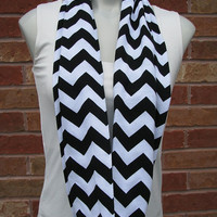 Black and White Chevron Jersey Infinity Scarf, Loop Scarf