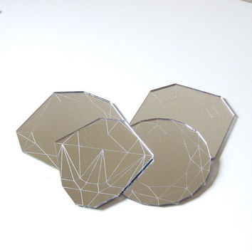 Mirror Jewel Coasters - Laser Cut Acrylic Set of Four Geometric Diamond Gems