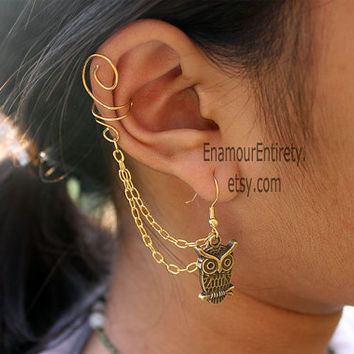 Gold or Silver Owl Ear Cuff Earring by EnamourEntirety on Etsy