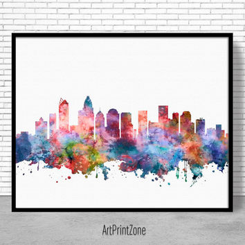 Charlotte Skyline, Charlotte Print, Charlotte North Carolina, Office Decor, Office Art, Watercolor Skyline, City Wall Art Art ArtPrintZone