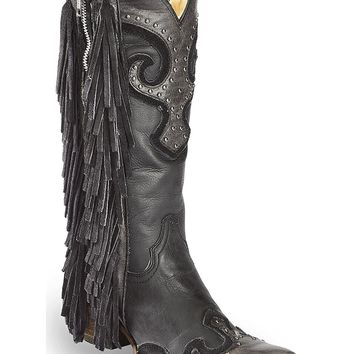 CORRAL Women's Studded Fringe Cowgirl Boot Snip Toe - A3148