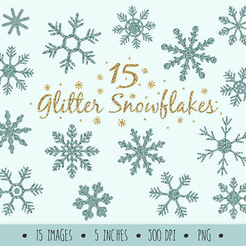 Frosty Glitter Snowflake Clip Art Set. Mint Sparkle Christmas Snowflakes. Frozen Snowflake Clip Art Images. Blue Winter Christmas Clipart.