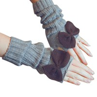Wool Knitted Womens Half Finger Gloves 2017 Winter Ladies Warm Long Gloves Bowknot Crochet Guantes Female Mittens