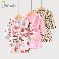 weLaken 2017 Soft Children's Robes for 2-8Yrs Baby Kids Pajamas Boys Girls Cartoon Sleepwear Bathrobes Kids Hooded Baby Robes