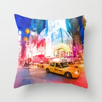Taking A Taxi Through Times Square - New York City Throw Pillow by Mark E Tisdale