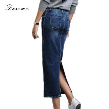 women's long denim skirt 2016 korean style back split long stretch denim skirt autumn/winter high waist jeans wrap hip skirt