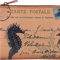 Seahorse Postcard vegan leather key ring coin purse with ID pocket