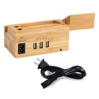 Amir Bamboo Charging Station Multi Device Charging Station With Three Usb Port Wood Organizer Dock For Iphone X / 8 / 7 / 6 / 5s & 38mm / 42mm Apple Watch Charger Cradle For Most Smartphones