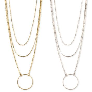 Circle & Chain Layering Necklace