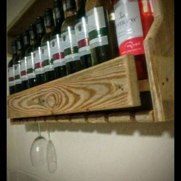 Reclaimed wood rustic 11 bottle wine rack with glass holders + FREE GIFT!