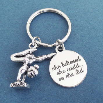 Gymnastics, she believed, she could, so she did, Keyring, Girl, Achievement, Keychain, Accomplishment, Gift, Jewelry, Key chain, Key ring