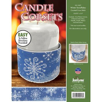 "Winter Snowflakes (14 Count) Janlynn Candle Corsets Plastic Canvas Kit 10.875""X2.5"""