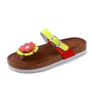 Women's summer cork slippers Anti-skid fashion Cartoon slippers