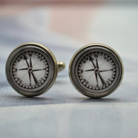 Compss Cuff links,Nautical Compass Mens Cufflinks,Glass cabochon picture Cufflinks (XK14)