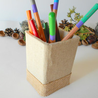 Pen holder with burlap fabrics- handmade rustic desk organiser with eco-friendly materials- Pencil and Pen Holder