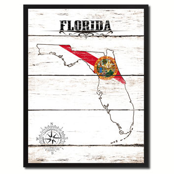 Florida State Flag Gifts Home Decor Wall Art Canvas Print Picture Frames