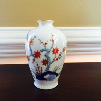 Japanese Fukagawa Arita Porcelain Vase, Tree of Antiquity, Apricot UME with Cobalt Blue & Gold Accents, Vintage Regional Art