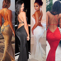 Women Long Sexy Evening Party Prom  Ball Gown Formal  Dress