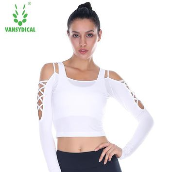 Vansydical Women's Yoga Shirts Long Sleeve Sexy Exposed Shoulder Fitness Sports T-shirts Running Workout Gym Crop Tops