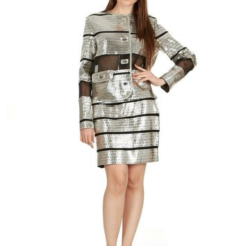 Tom Ford Womens Silver Leather Sequin Applique Jacket & Skirt
