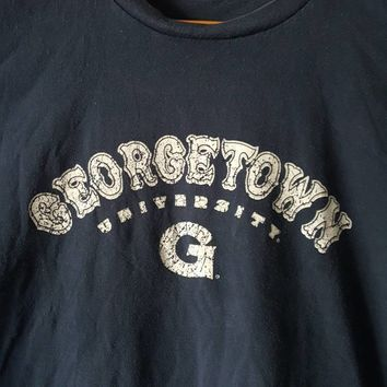 Vintage Champion Georgetown University Tee Shirt college football basketball Allen Iverson pat ewing