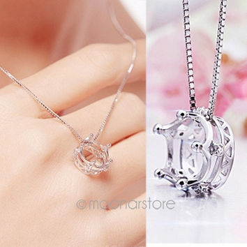 Fashion Women Crown Rhinestone 925 Silver Pendent Chain Necklace = 1946563396