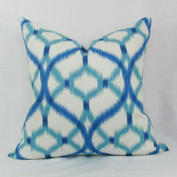 "Blue & aqua ikat decorative throw pillow cover. 20"" x 20"". 22"" x 22"".24"" x 24"""
