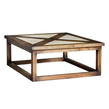 Akono Distressed Honey Mahogany & Granite Coffee Table by Uttermost
