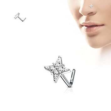 WildKlass CZ Paved Diamond 316L Surgical Steel L Bend Nose Stud Rings