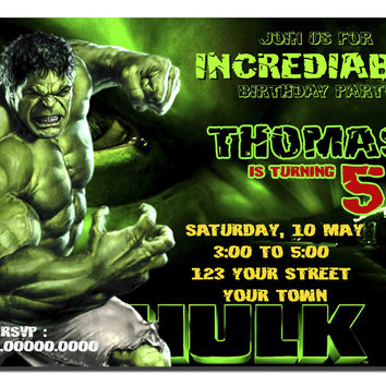 Incredible Hulk Birthday Invitation Kids Birthday Invitation Party Design