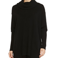 Cashmere-Blend Long-Sleeve Poncho, Size: