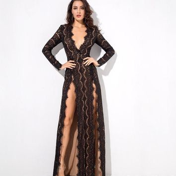 Iona- Black Deep V Collar Cut Out Lace Long Sleeve Maxi Dress