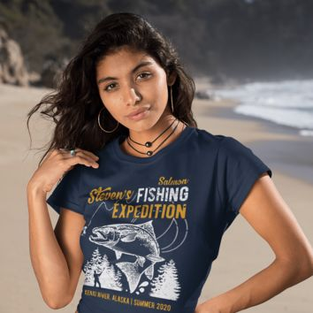 Women's Personalized Salmon Fishing T-Shirt - Fisherman Trip Expedition Tee Shirt Men's Gift Custom Salmon Shirts