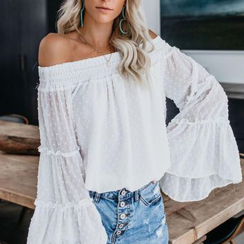White Swiss Dot Off The Shoulder Bell Sleeve Blouse