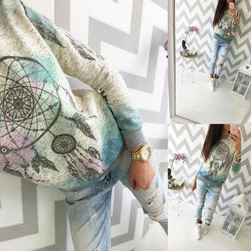 2018 Spring Promotion Long Sleeve T Shirts O-neck Plus Size Dream Catcher Tops Women Autumn Fashion XS-5XL