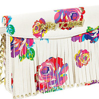 Betsey Johnson On The Fringe Crossbody Bag Floral