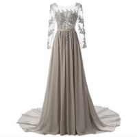 Fashion Sexy gauze splicing lace flower long-sleeved hollow out  evening dress