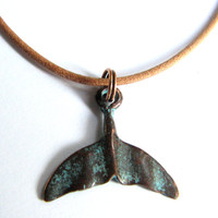 Whale Tail Necklace, Copper with Verdigris Patina Finish  Women or Mens Jewelry Surfer