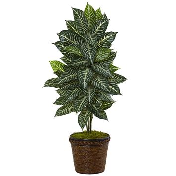 Artificial Plant -4 Foot Zebra with Coiled Rope Planter Silk Plant