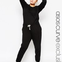 ASOS CURVE Casual Jumpsuit with Drawstring Waist & Long Sleeve at asos.com
