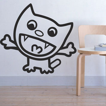 Wall Decal Vinyl Sticker Art Decor Design cat animals cartoon baby boy girl game cute room children Bedroom nursery (i88)