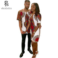 Woman's Ankara Dashiki Dress and Man's Ankara Print Top