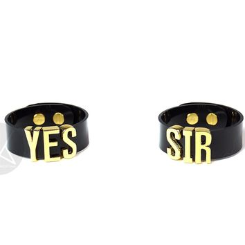 "HARLEY QUINN ""YES SIR"" Cuff Bracelets Pair - Skinny Letters"