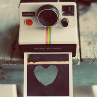 Camera photograph- heart, love, whimsical, vintage, valentines day, white, teal, rustic, black, camera print, fine art print, 8x10