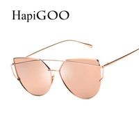 HapiGOO  New Women Cat Eye Sunglasses Fashion Women Brand Designer Twin-Beams Coating Mirror Sun glasses Female Sunglasses UV400