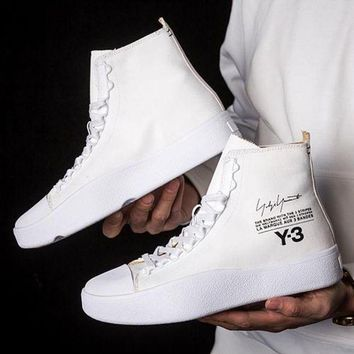 Kalete ADIDAS Y-3 Fashion Women Men High Help Personality Sneakers Sport Shoes White I