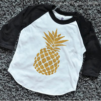 Pineapple Shirt Girl Hipster Clothes Glitter Pineapple Top Baby Luau Outfit Hawaiian Luau Party Shirt Sparkle Pineapple Raglan 106