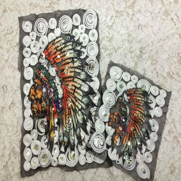 large Embroidery Patches for Jacket Back Motorcycle Biker Skull Indian Chief PU leather 16*15cm@129