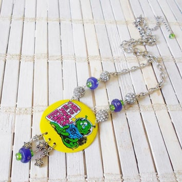 Upcycled Alien Pendant Necklace, Take Me to Your Leader, Rhinestones, Yellow Silver Purple Green, Kitschy, X-files Inspired, Geekery, Ufo